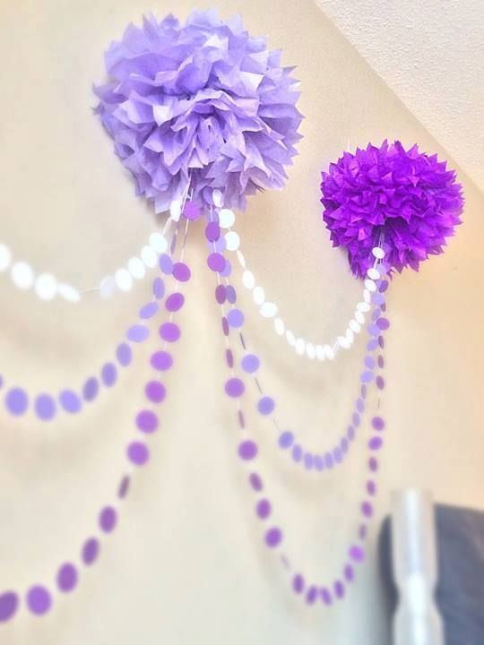 DIY Interior Decorating Garlands. Original and Budget Saving. Purple and white idea for nice decoration of papaer dots