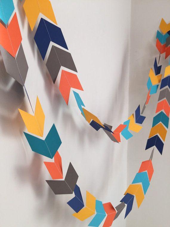 DIY Interior Decorating Garlands. Original and Budget Saving. Colorful arrows for the holiday mood