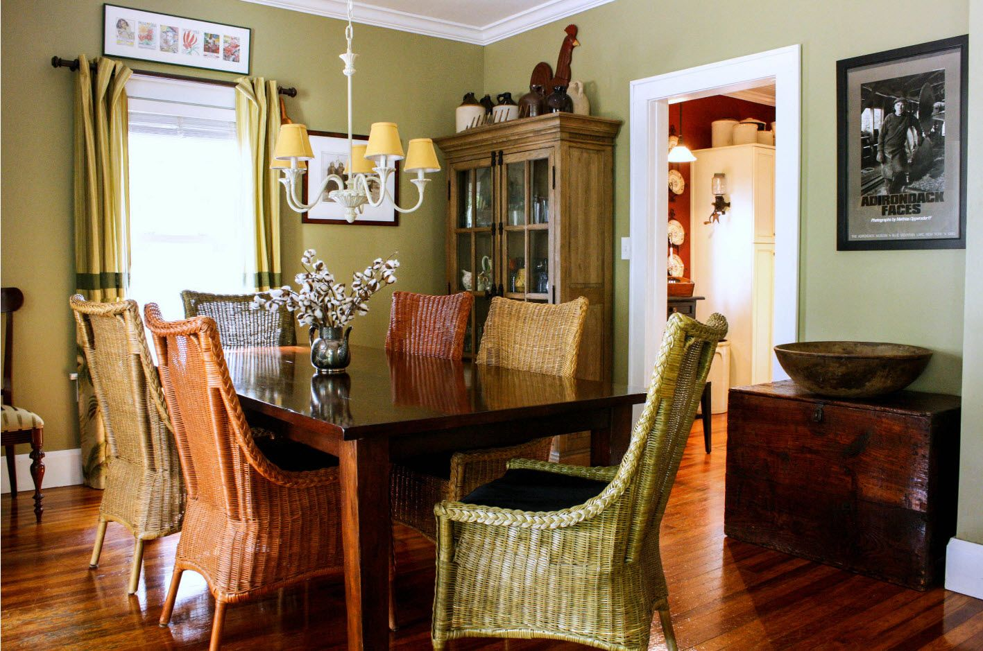 Naturalistic color set for rustic atmosphere of the dining