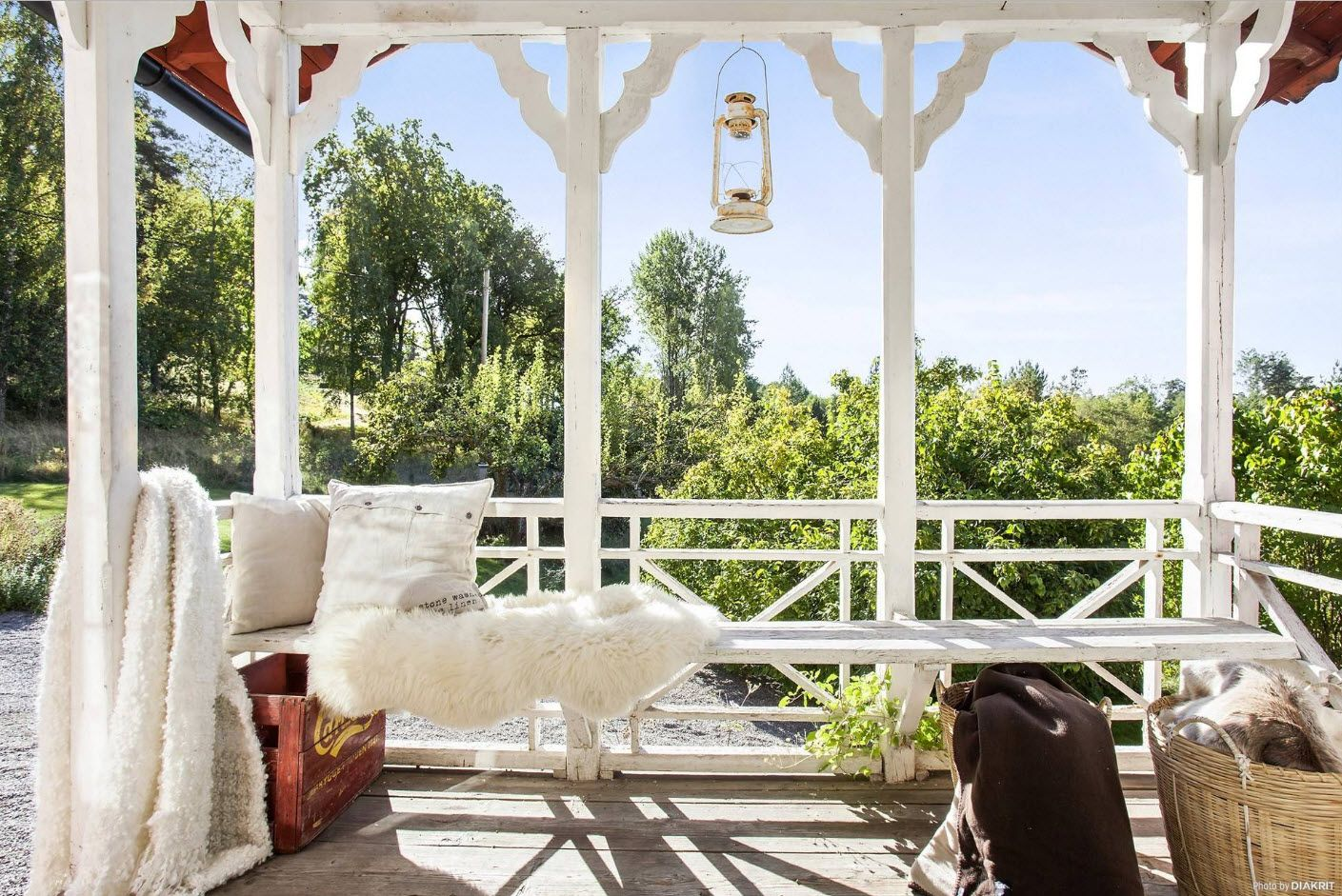 White wooden lightweight construction at the porch