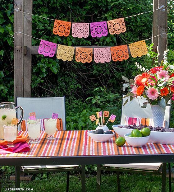 DIY Interior Decorating Garlands. Original and Budget Saving. Curtain-like paper banner for the outdoor party