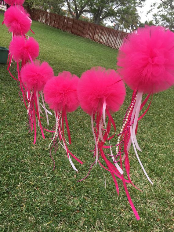 Pink polyesther tulle balls and ribbons