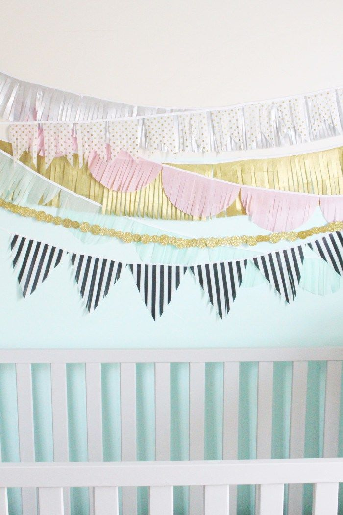 DIY Interior Decorating Garlands. Original and Budget Saving. Sliced triangle flags of papaer