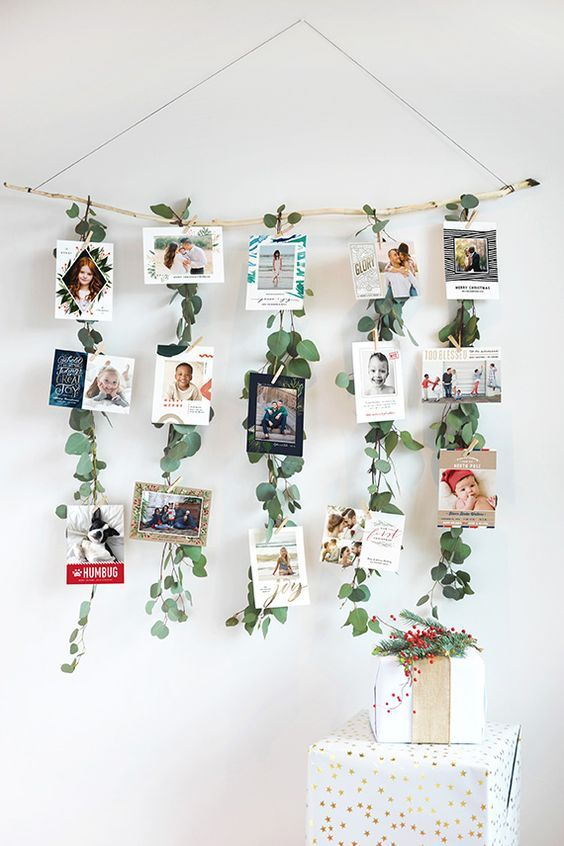 Nice photo-wall with decorative diy decoration elements