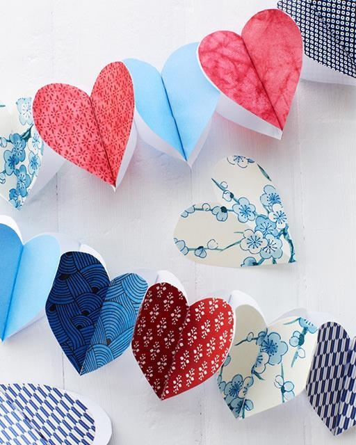DIY Interior Decorating Garlands. Original and Budget Saving. Paper hearts row
