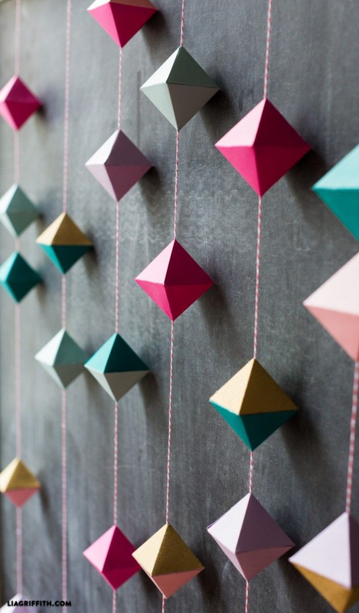 DIY Interior Decorating Garlands. Original and Budget Saving. nice rhombs of paper