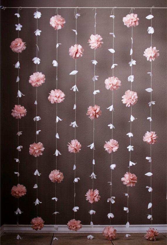 DIY Interior Decorating Garlands. Original and Budget Saving. Paper spatter of fluffy elements