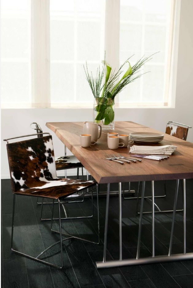 Unusual modern design of the Scandinavian stylistic direction with pelts and natural materials of furniture