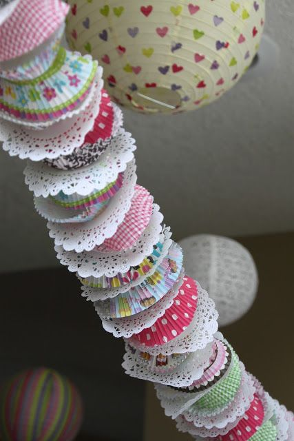 Cupcake paper base is a nice material for diy garlands