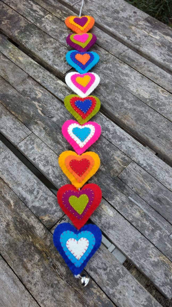 Colorful hearts of cloth for the festive mood
