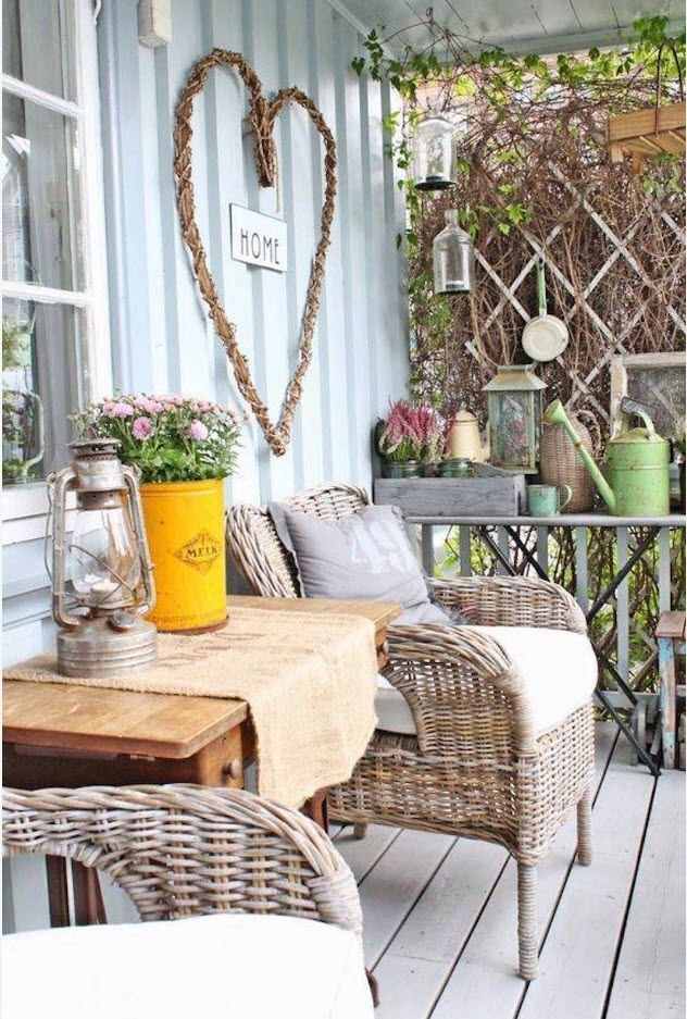 Country House Porch Decoration & Design Ideas. Eco design and rustic style of the composition