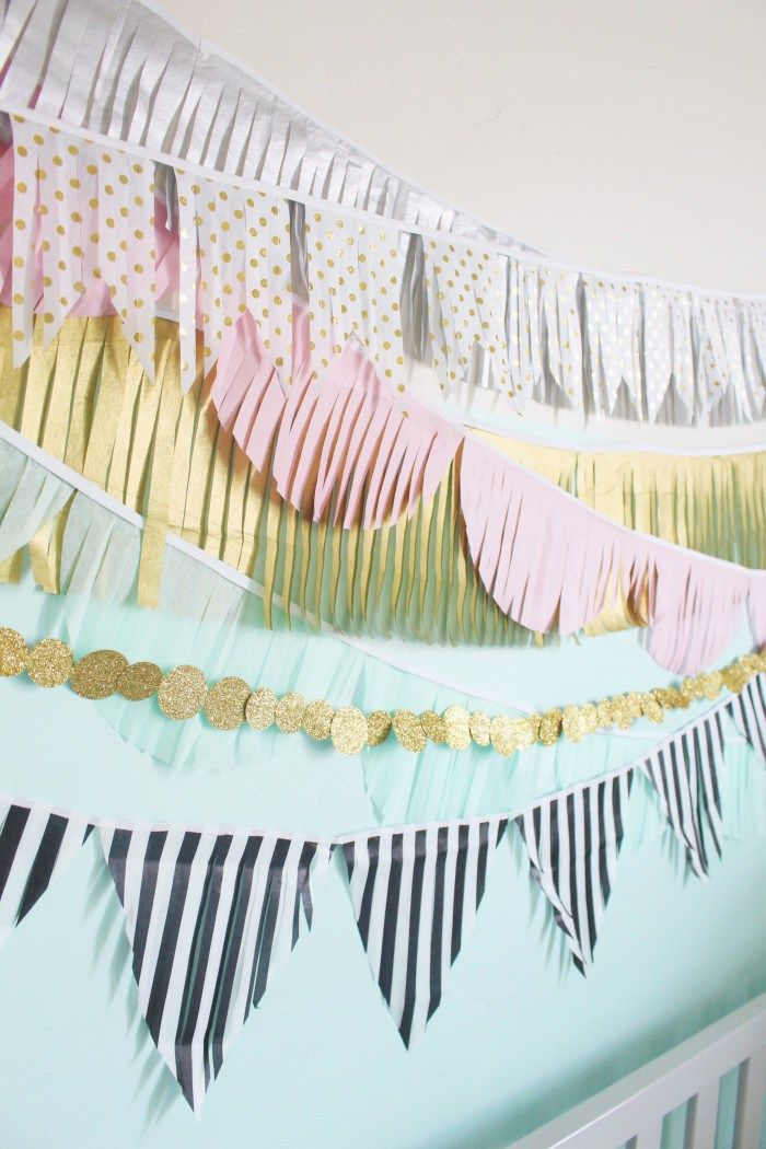 DIY Interior Decorating Garlands. Original and Budget Saving. Close-up colorful paper fringe stripes
