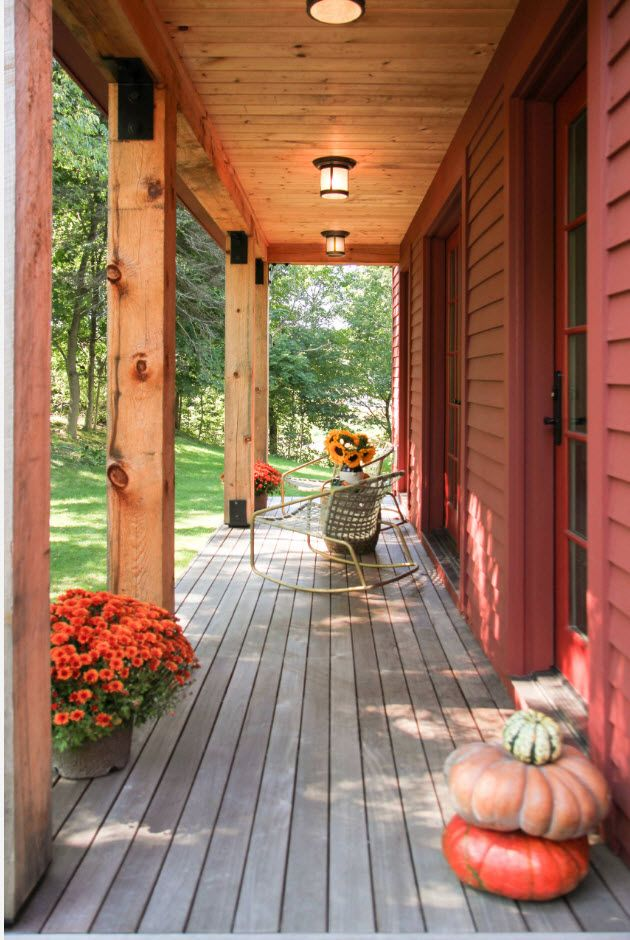 Country House Porch Decoration & Design Ideas. Wooden materials for the low based entrance