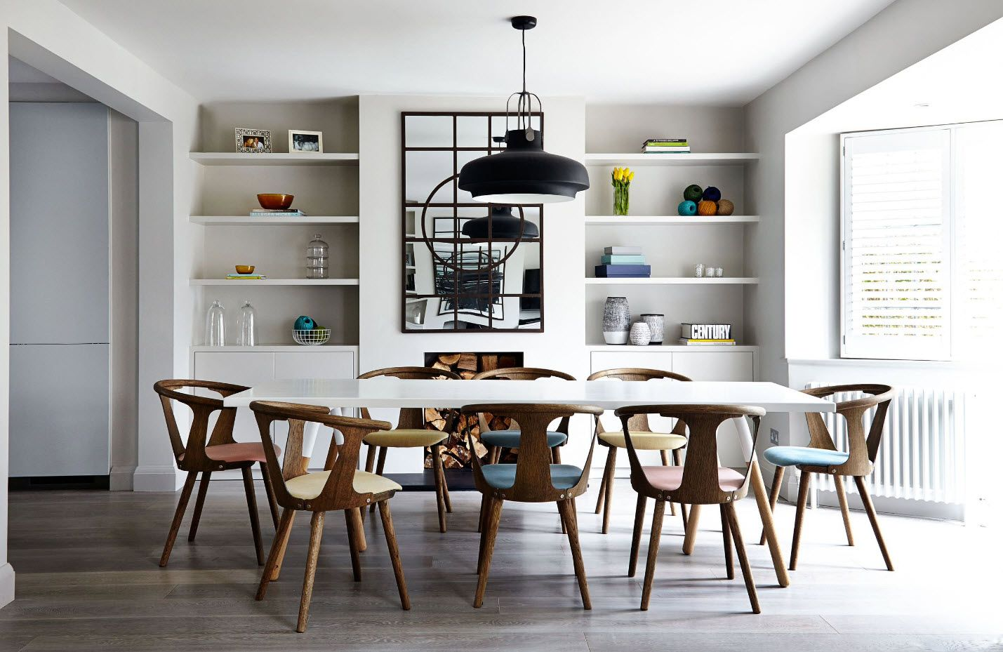 Dining Zone Table And Chairs: Practical And Aesthetic Composition. Wooden  Materials And Scandinavian Style