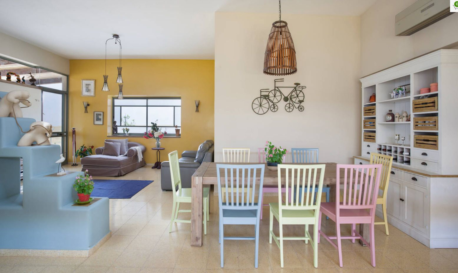 Dining Zone Table and Chairs: Practical and Aesthetic Composition. Alternative color combination for wooden stools