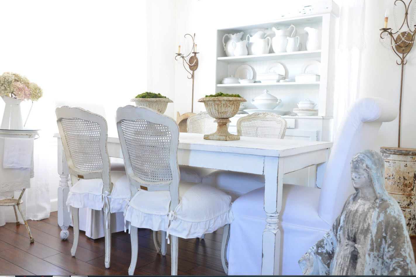 White matted chair paint in the Provence styled room
