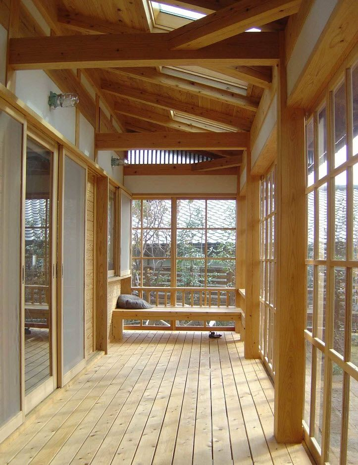 Country House Porch Decoration & Design Ideas. Light wooden area and glass to protect from wind
