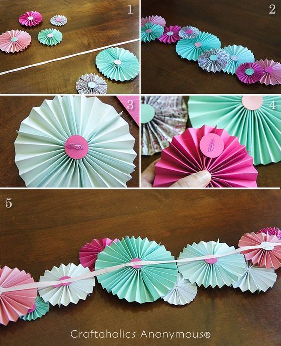 DIY Interior Decorating Garlands. Original and Budget Saving. Round voluminous hand-craft looking like small ballerina skirts