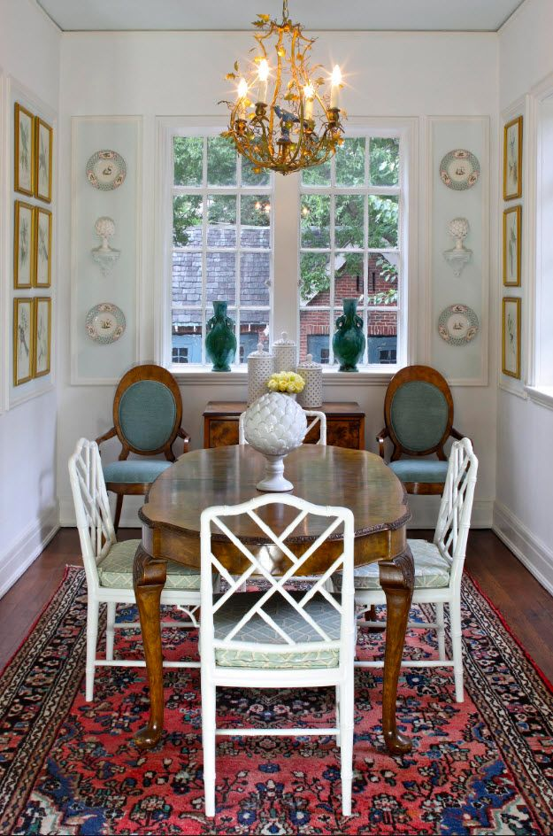 Dining Zone Table and Chairs: Practical and Aesthetic Composition. Light classic setting of the area