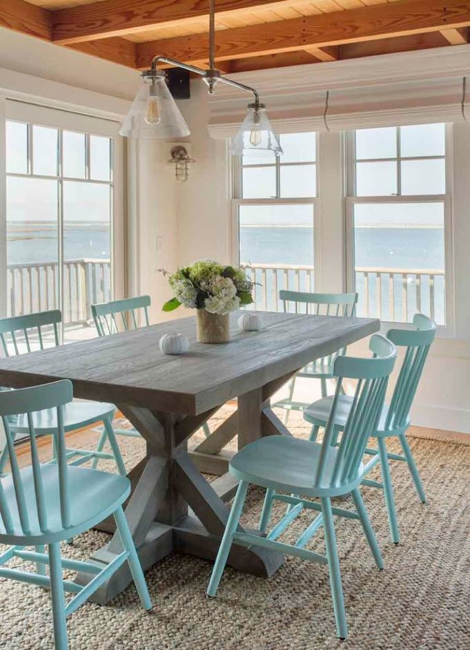 Pale blue chairs set at the patio