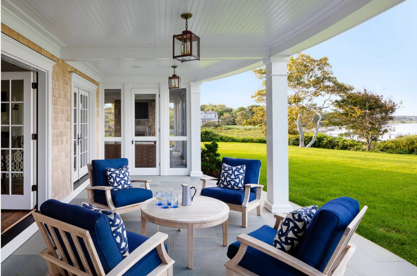 Country House Porch Decoration & Design Ideas. White and blue Marine style for the furnished area