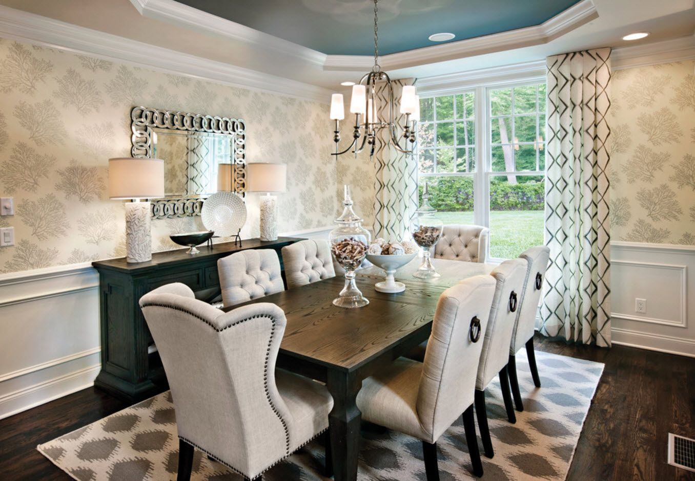 Complex color textured classic furnished dining room near the large window