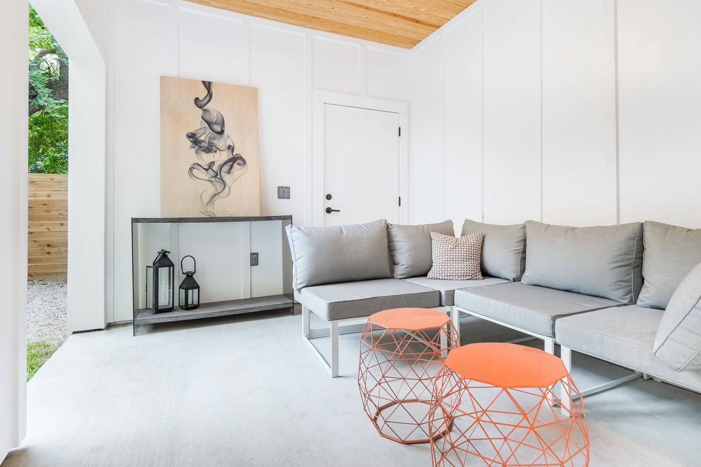 Modern white Scandinavian design for the large porch zone