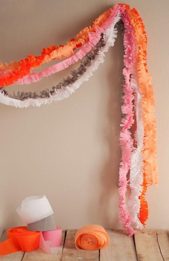 DIY Interior Decorating Garlands. Original and Budget Saving. Paper fur strips