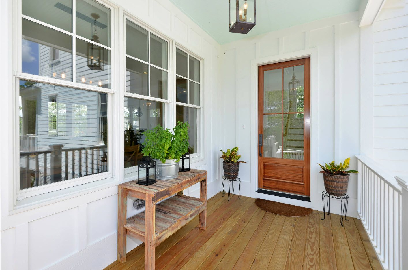 Country House Porch Decoration & Design Ideas. Eco touch with the plant at the door