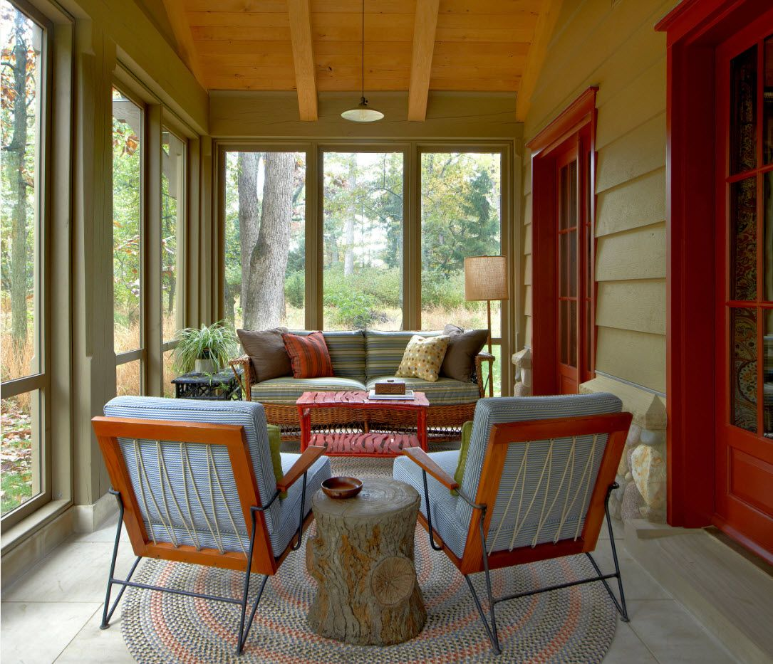 Wooden porch zone with spectacular play of colors