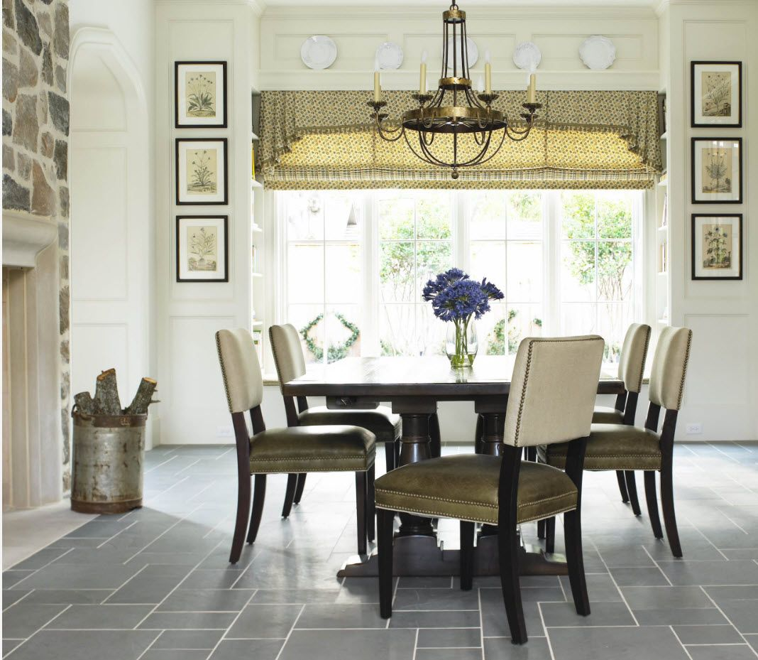 Tiled floor and natural colored dining romo interior