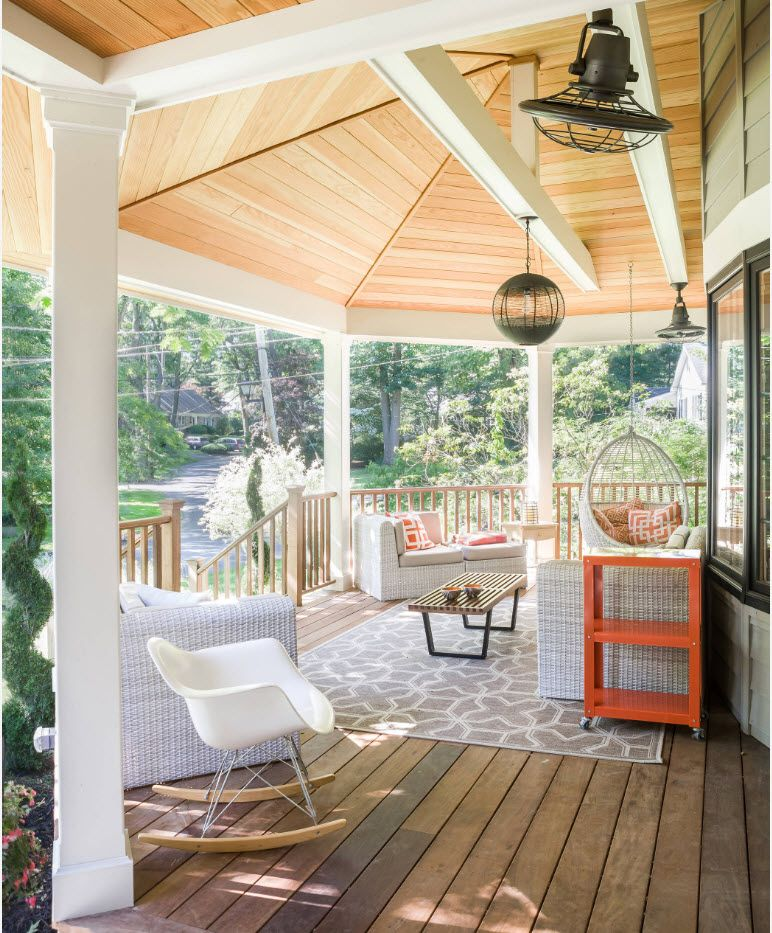 Country House Porch Decoration & Design Ideas. Wooden dome at the rest space