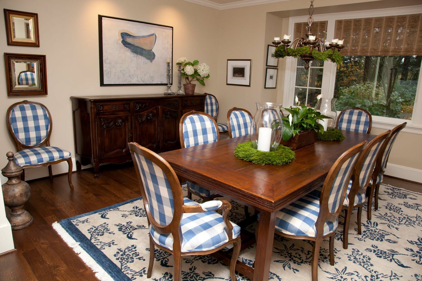 Classic interior of the dining room full of wooden furniture