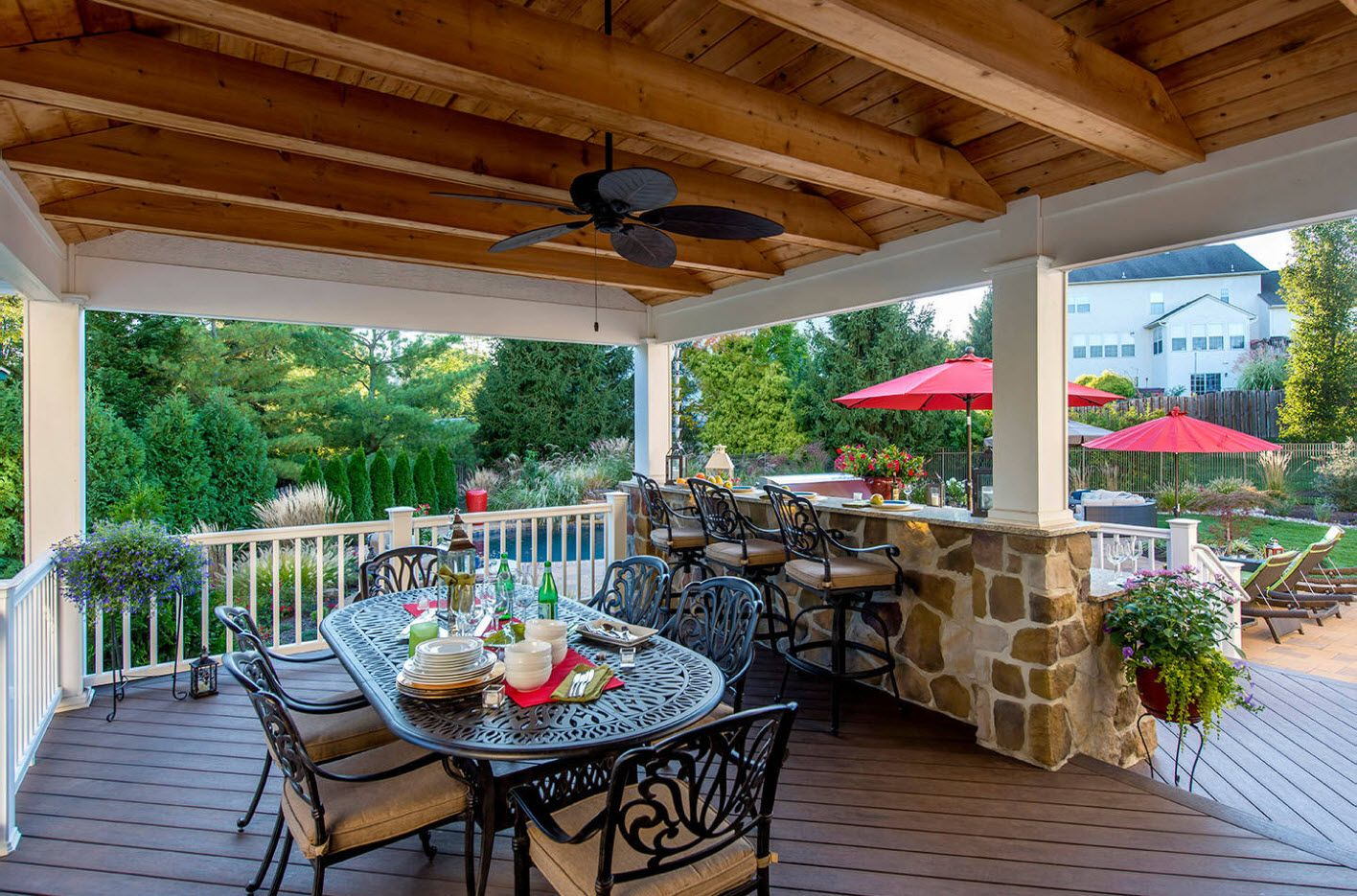 Mediterranean style for the porch area with open beam roof