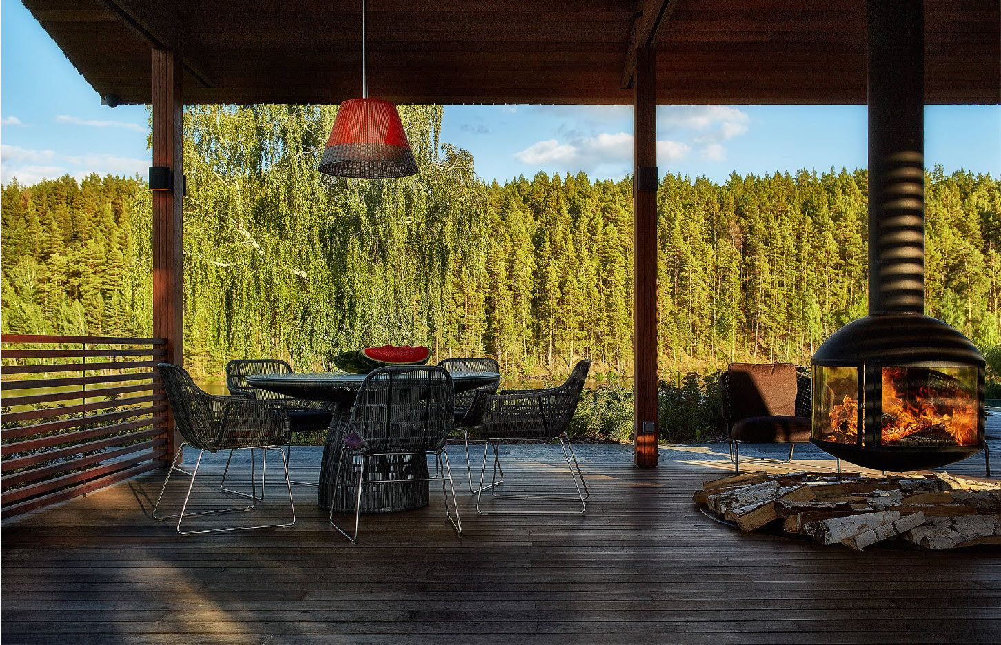 Open wooden terrace at the forest side private house