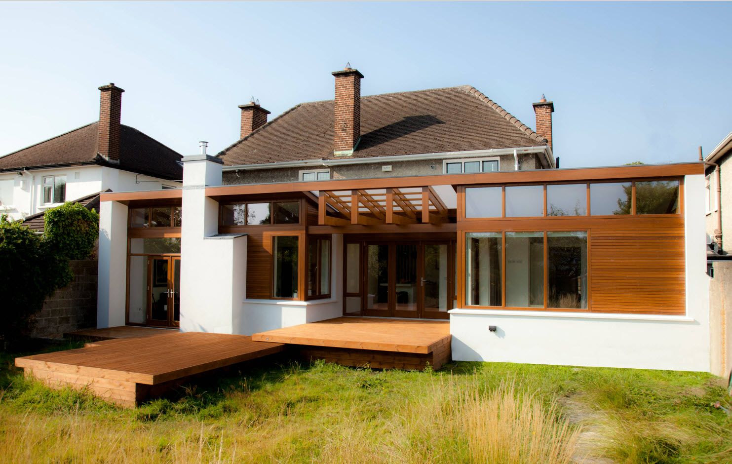 Country House Porch Decoration & Design Ideas. Wooden latticed canopy in front of the building