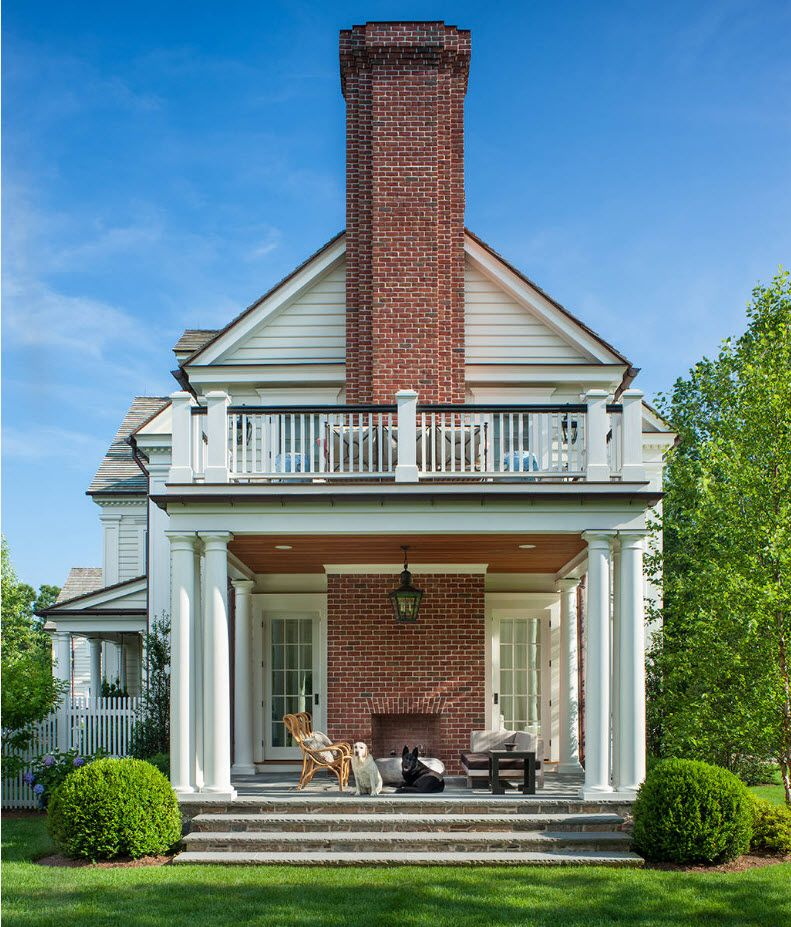 Country House Porch Decoration & Design Ideas. Open balustrade, furnished porch and brick chimney create a real composition altogether