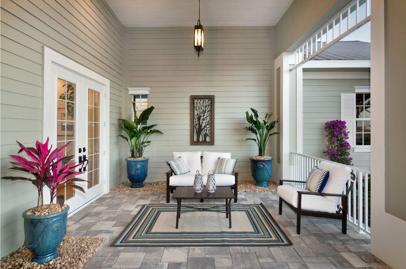 Country House Porch Decoration & Design Ideas. Almost fully closed area