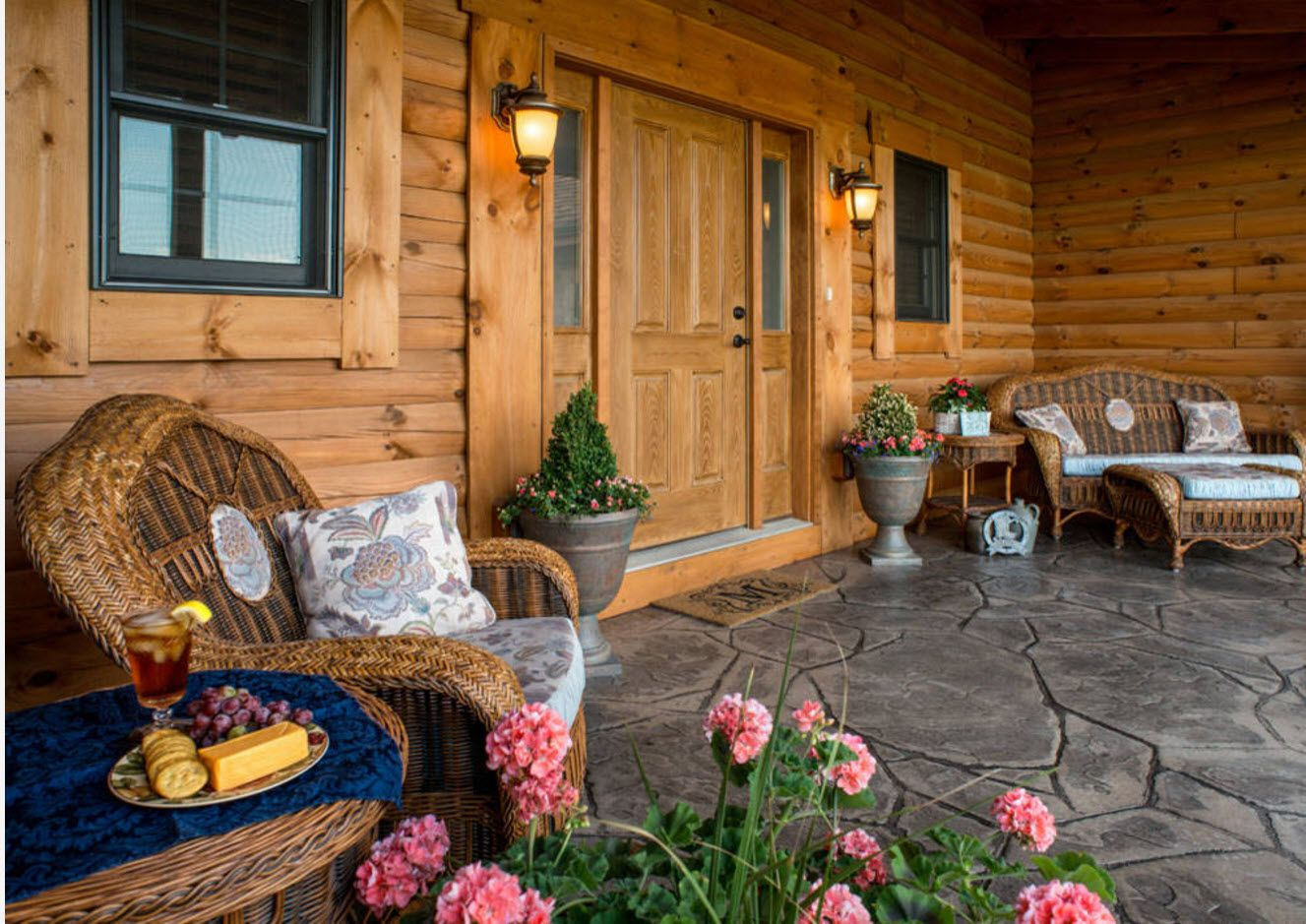 Country House Porch Decoration & Design Ideas. Fully wooden trimmed facade in deep rustic style