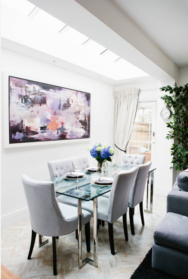 Nice impressionistic picture to dilute white design of the modern dining