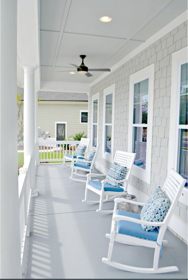 Country House Porch Decoration & Design Ideas. White neat English style and rocking chairs