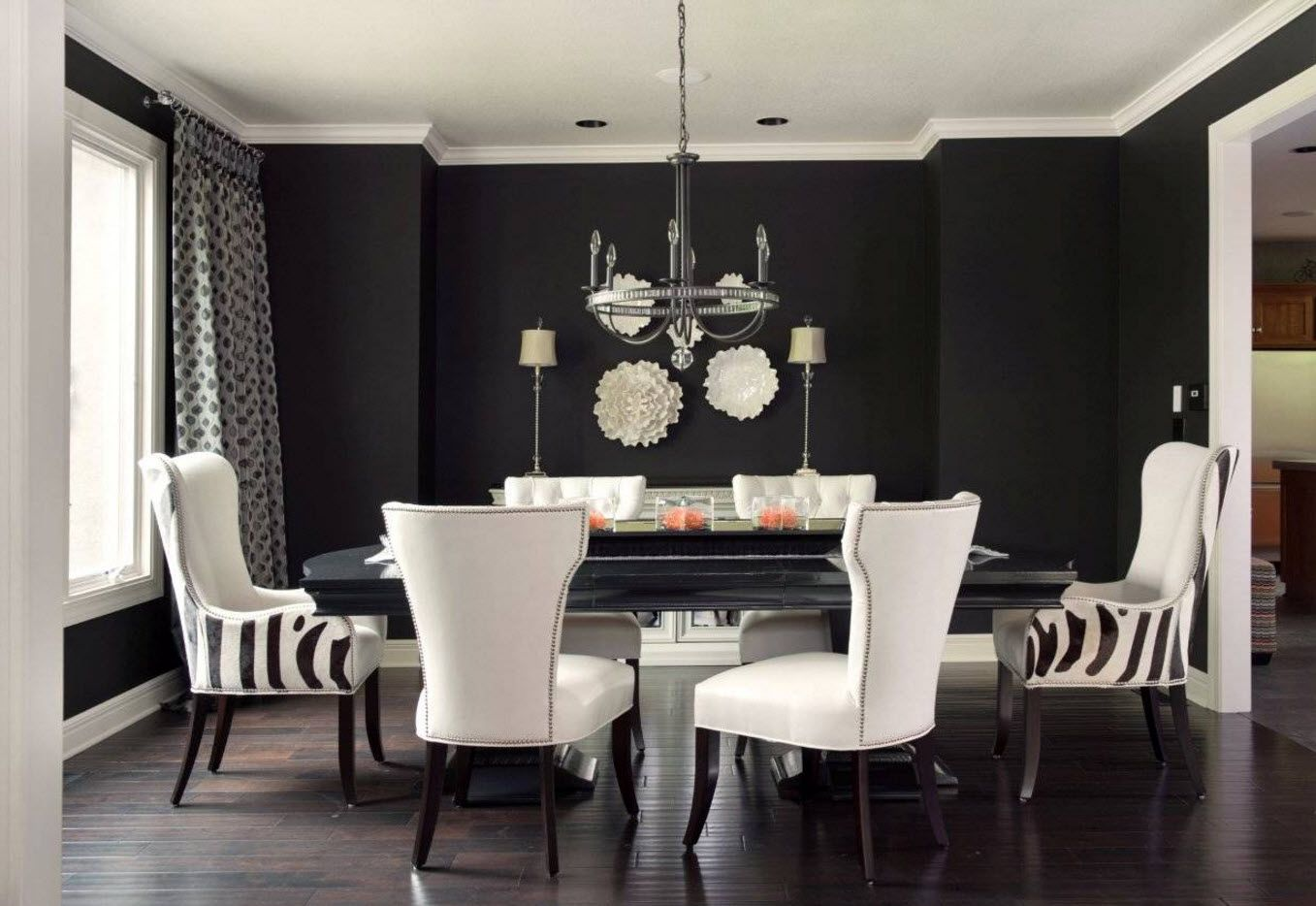 Dining Zone Table and Chairs: Practical and Aesthetic Composition. Dark color theme of the hi-tech premises