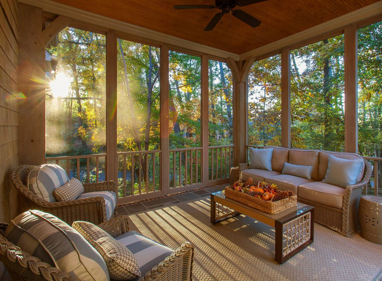 Country House Porch Decoration & Design Ideas. Open air leisure zone with panoramic windows