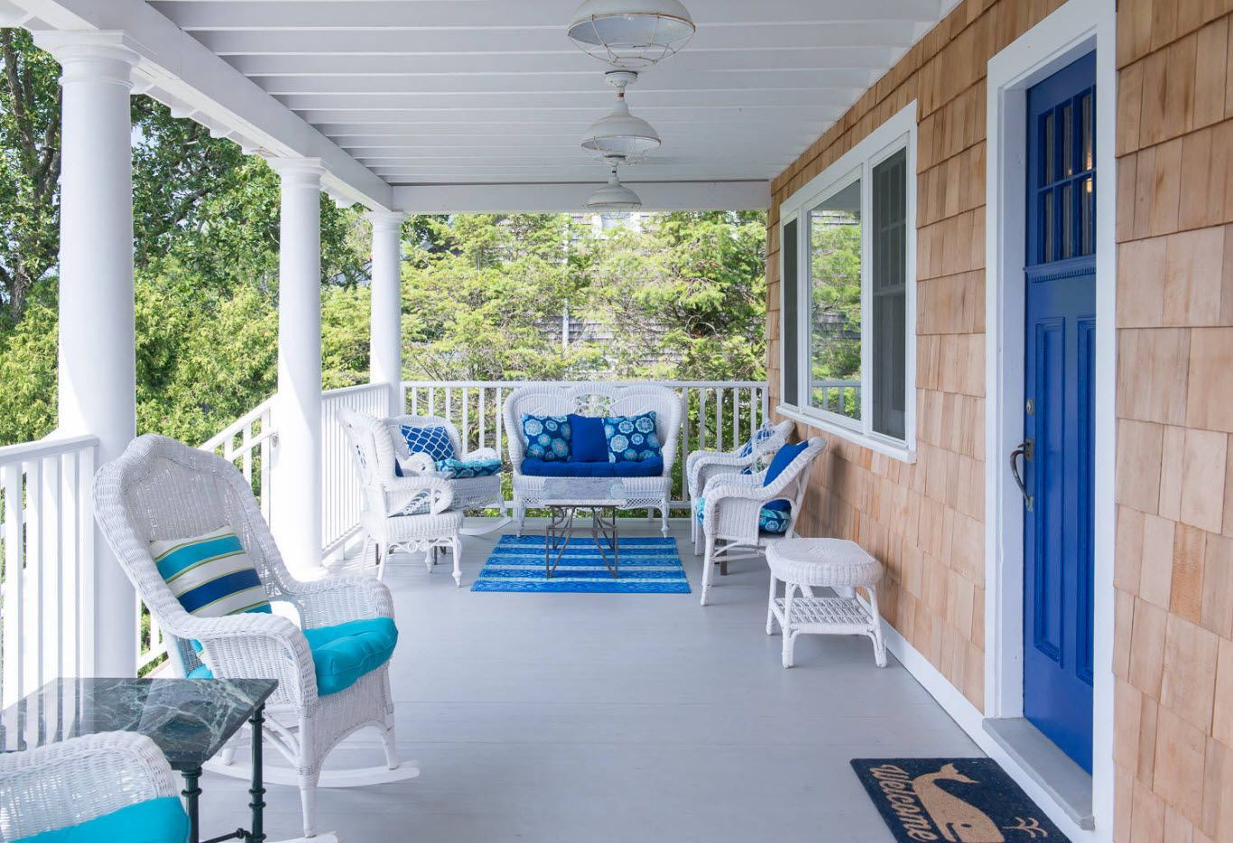 Large open air hall at the porch of private house in Marine style