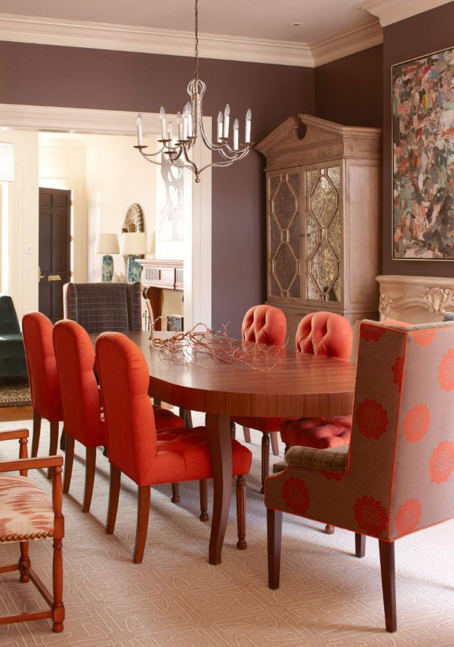 Orange upholstered soft chairs for the classic dining room