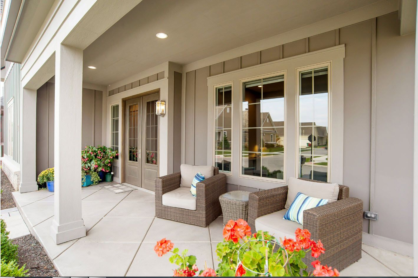 Country House Porch Decoration & Design Ideas. American style in gray tones with rattan wicker armchairs