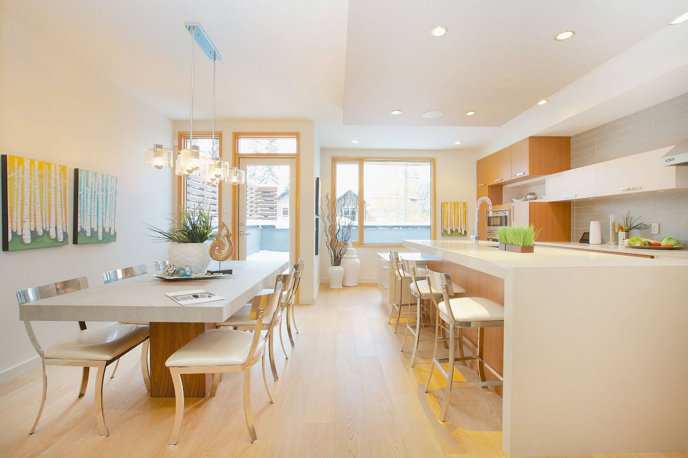White and wooden color palette for modern dining room