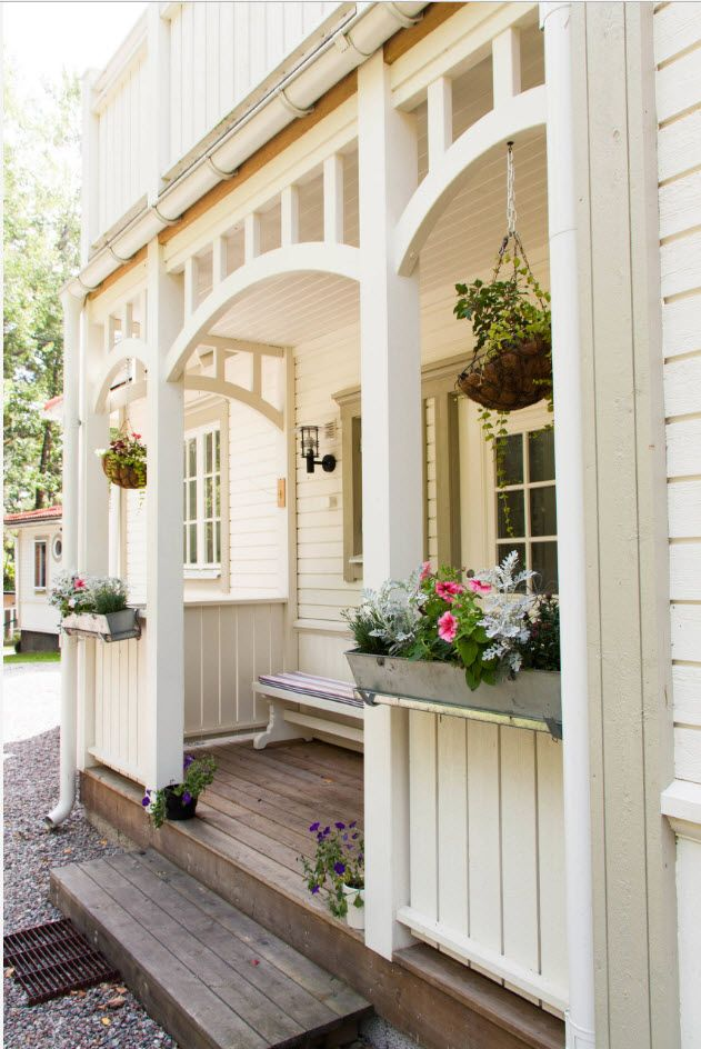 Country House Porch Decoration & Design Ideas. Wooden white colored arch at the entrance of Casual styled house