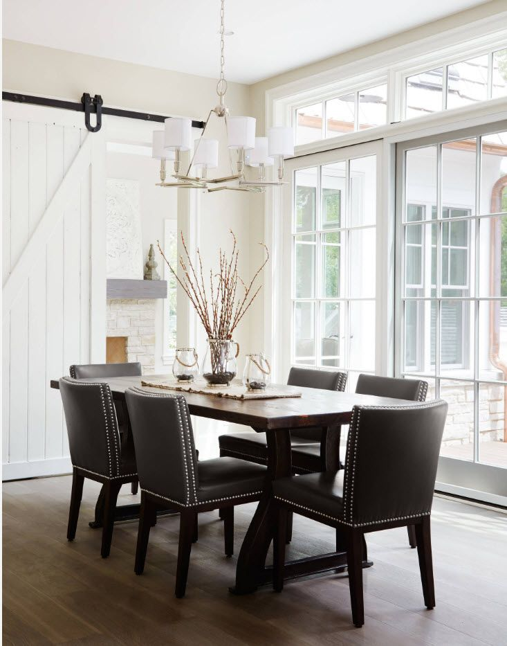 typical Scandinavian interior with black chairs' set