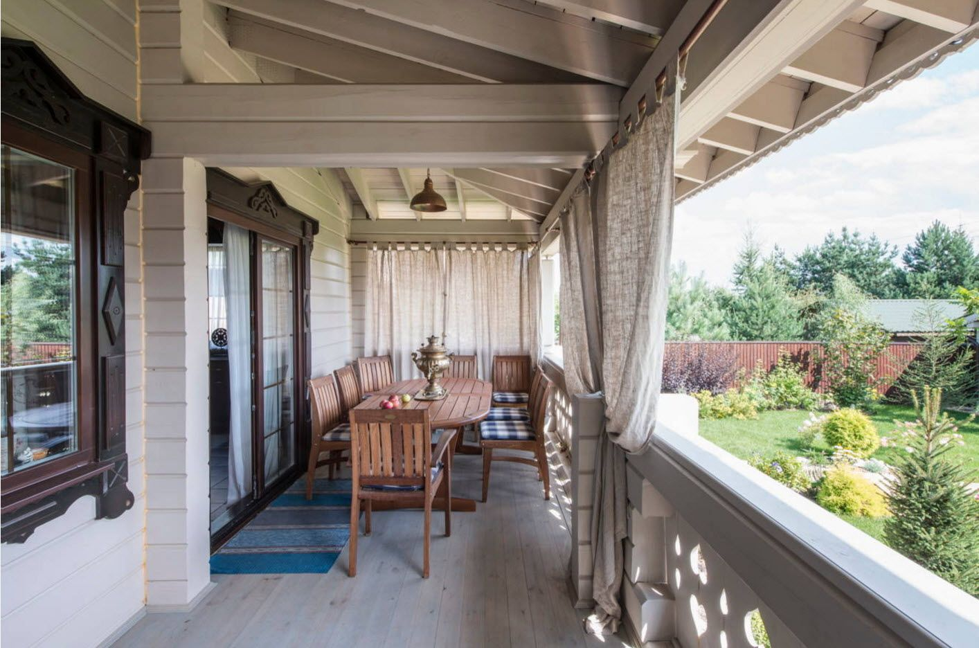 Country House Porch Decoration & Design Ideas. Gray modern style for the outdoor patio at the private house with curtains